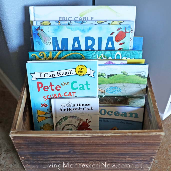 Book Basket with Fiction Books for an Ocean Unit
