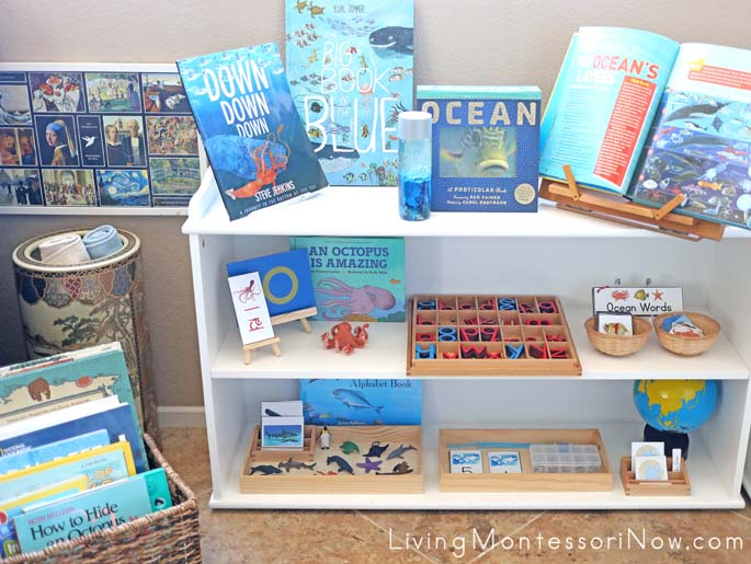 Montessori Book Basket and Shelves with Ocean-Themed Activities