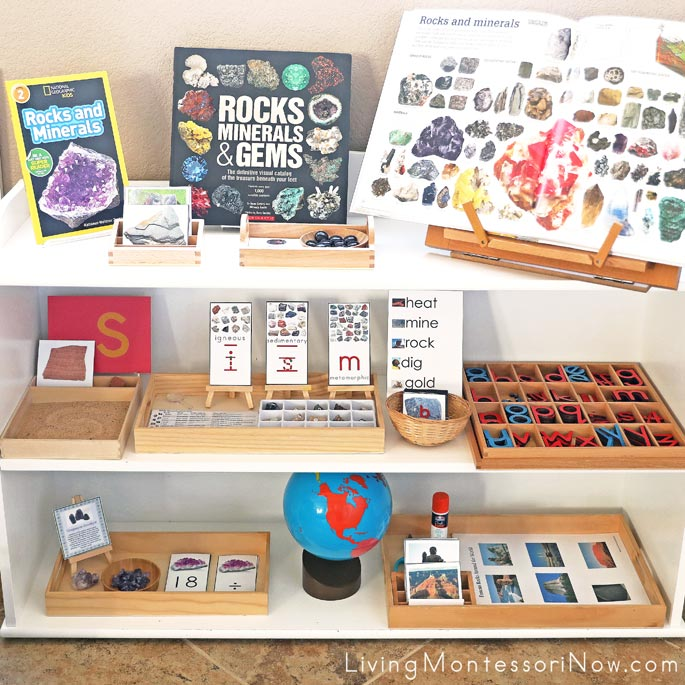 Montessori Shelves with Rock and Mineral Themed Activities
