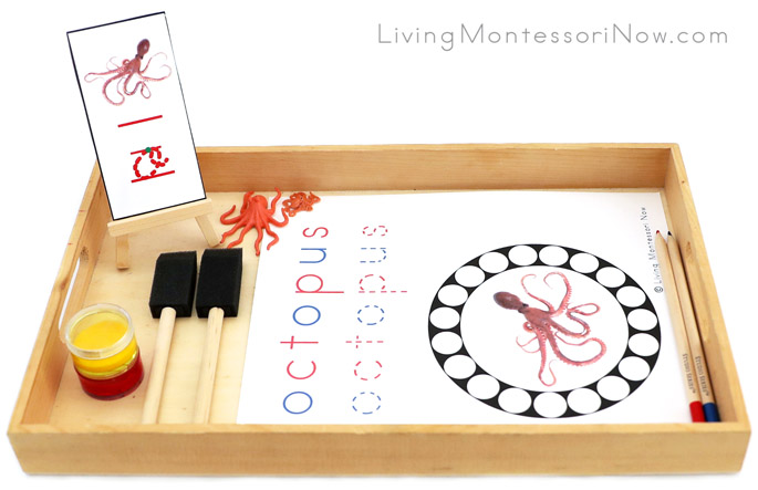 Octopus Do-a-Dot Phonics Tray with Octopus Paint Stamping and Color-Mixing Work