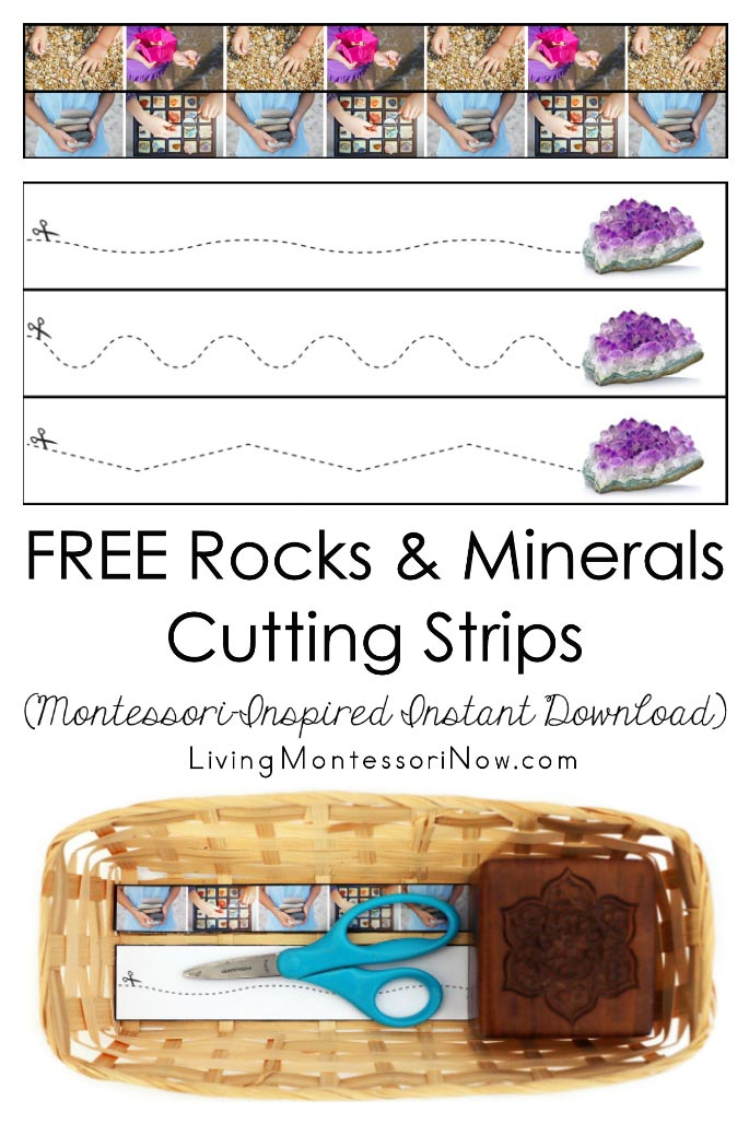 Free Rocks and Minerals Cutting Strips (Montessori-Inspired Instant Download)