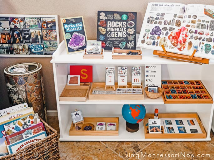 Montessori Book Basket and Shelves with Rock and Mineral Themed Activities