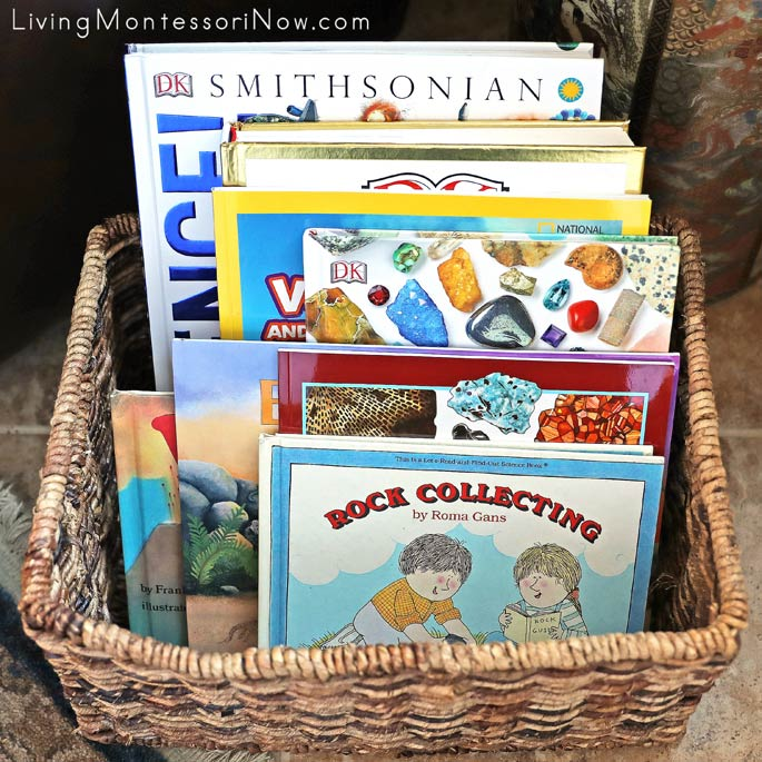 Montessori Book Basket with Books for a Rocks and Minerals Unit