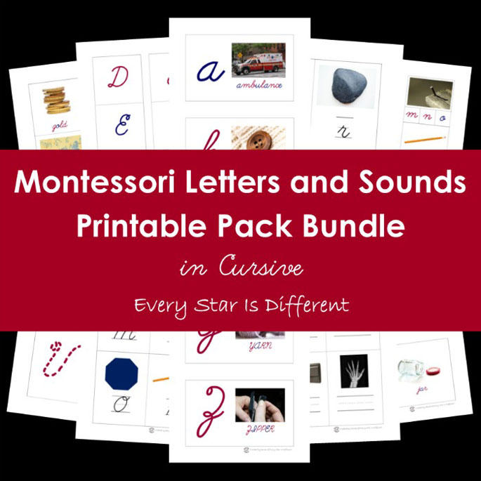 Montessori-inspired Letters and Sounds Printable Pack Bundle in Cursive