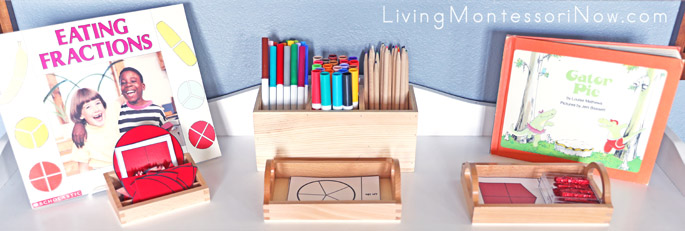 Montessori Shelf with Fractions Books and Printables