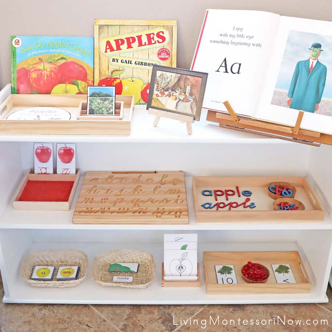 Montessori Shelves with Apple-Themed Activities
