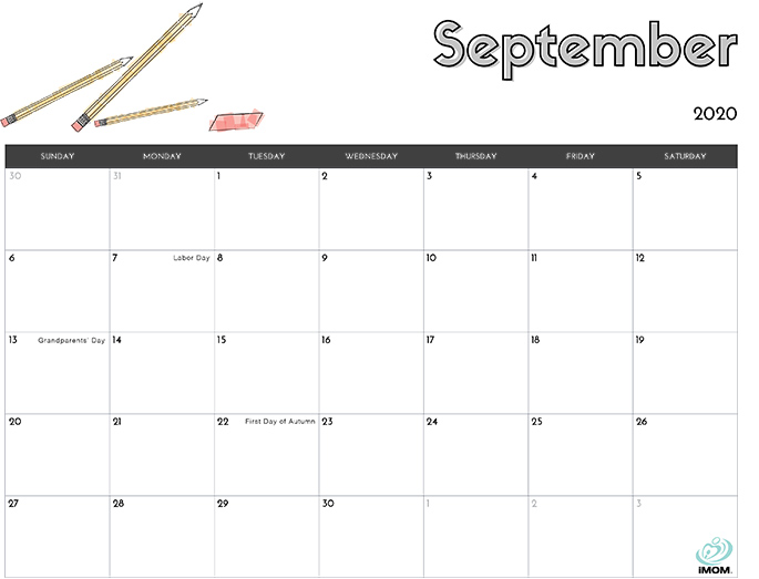 September 2020 calendar from iMom