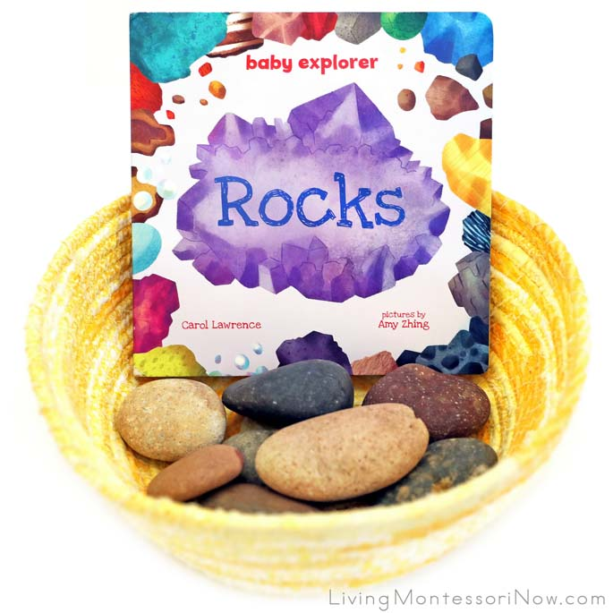 Toddler Book Basket with Rocks Board Book and Beach Rocks