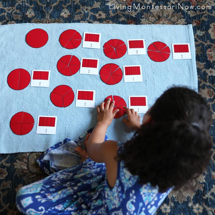Working with Montessori Fraction Printables