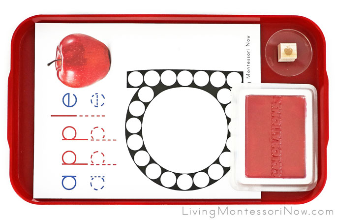 Apple Letter A Do-a-Dot Tray with Rubber Stamp Work