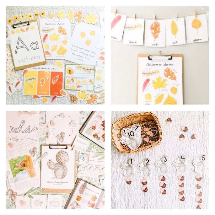 Autumn Activity Bundle, Autumn Leaves Poster and Cards, Squirrel Activity Bundle, and Squirrel and Acorn Cards and Counters from Green Urban Mama