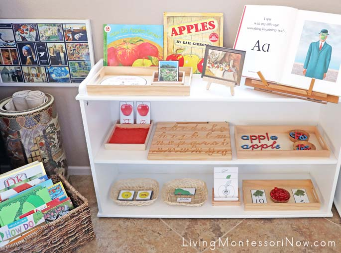 Book Basket and Montessori Shelves with Apple-Themed Activities