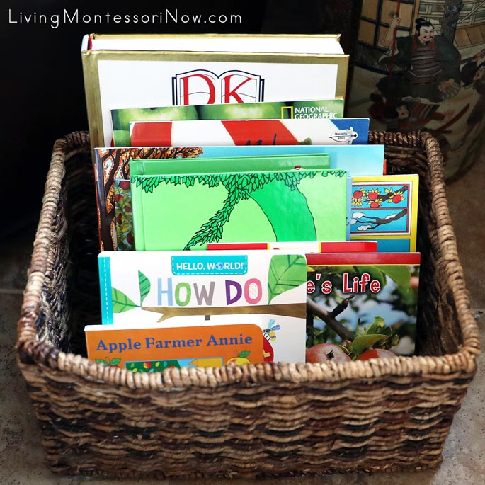 Book Basket with Apple-Themed Books