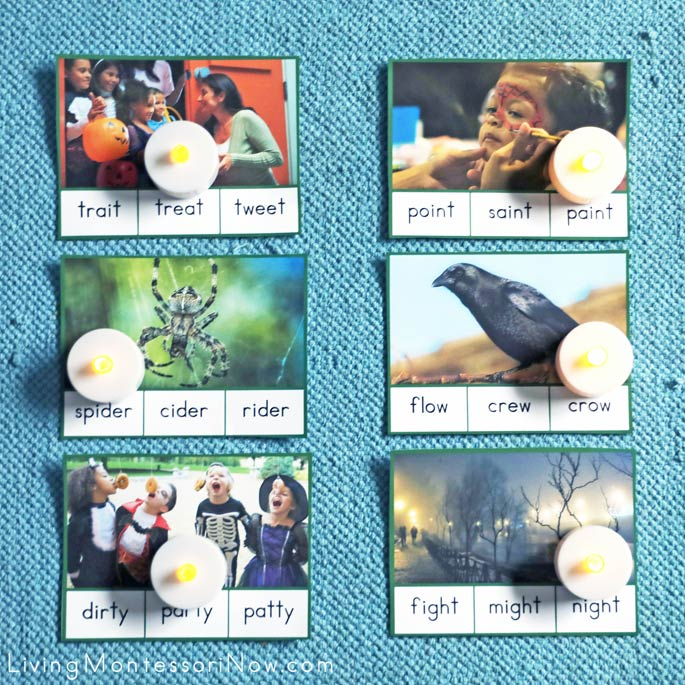 Halloween Advanced Language - Green Series Beginner Word Clip Cards with Tea Candles