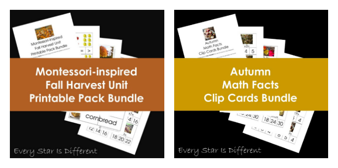 Montessori Inspired Fall Harvest Printable Pack and Autumn Math Facts Clip Cards by Every Star Is Different