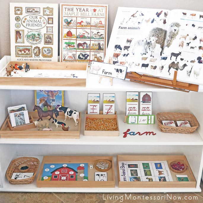 Montessori Shelves with Farm-Themed Activities