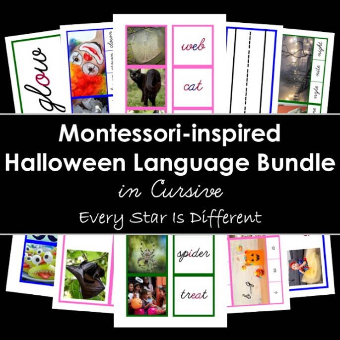 Montessori-Inspired Halloween Language Bundle in Cursive from Every Star Is Different