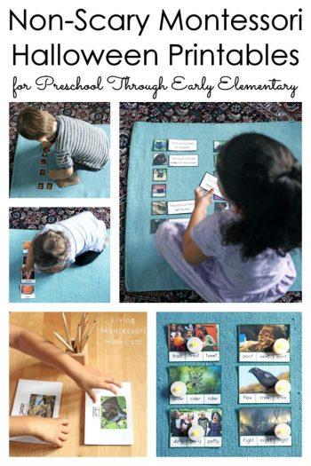 Non-Scary Montessori Halloween Printables for Preschool Through Early Elementary