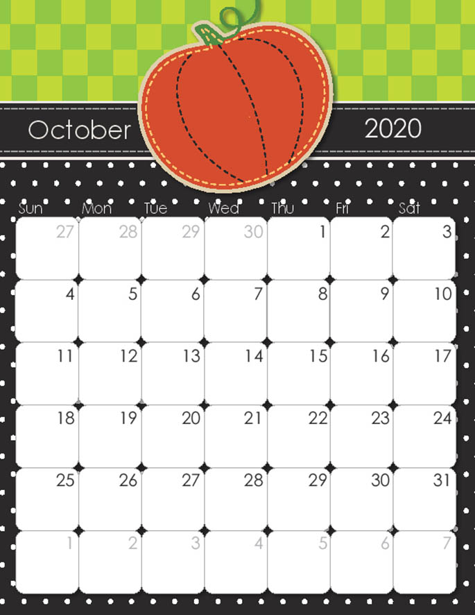 October 2020 Calendar from iMom