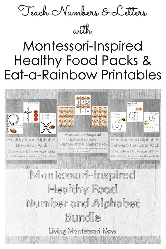 Teach Numbers and letters with Montessori-Inspired Healthy Food Packs and Eat-a-Rainbow Printables