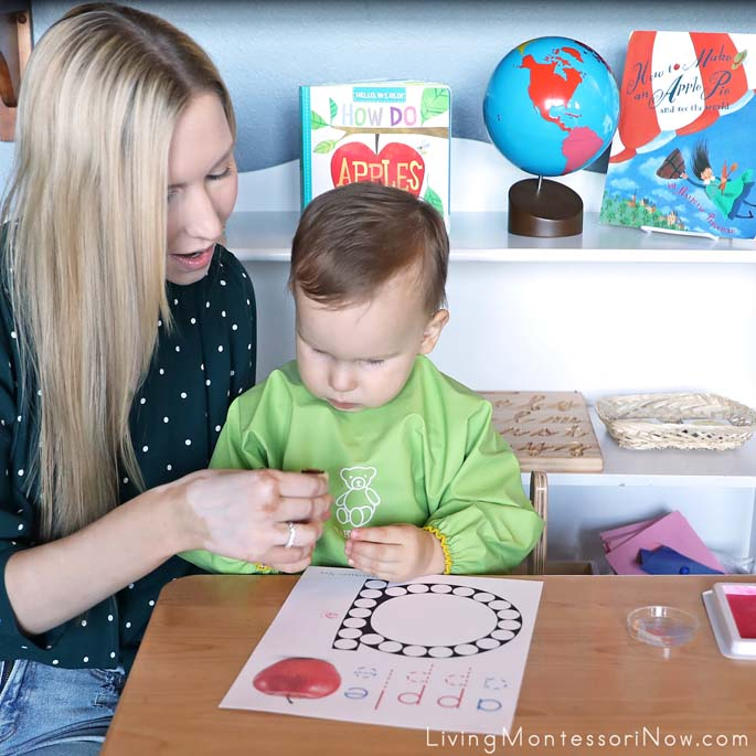 Toddler Lesson on How to Use an Apple Rubber Stamp