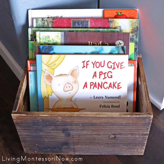 Book Basket with Farm-Themed Books