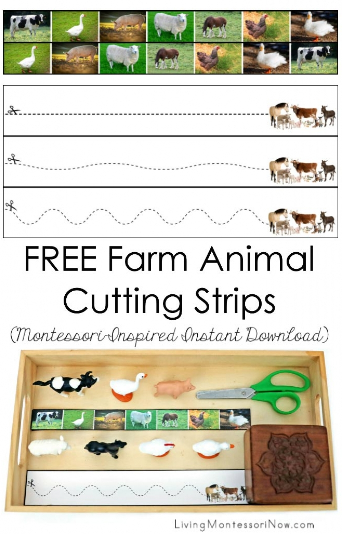 FREE Farm Animal Cutting Strips (Montessori-Inspired Instant Download)