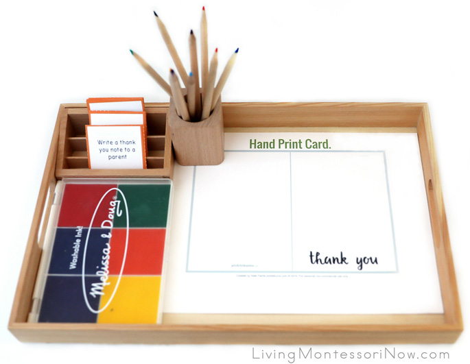 Giving Back the Gratitude Tray with Fingerprint or Handprint Thank You Cards