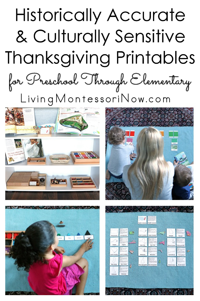Historically Accurate and Culturally Sensitive Montessori Thanksgiving Printables for Preschool Through Elementary