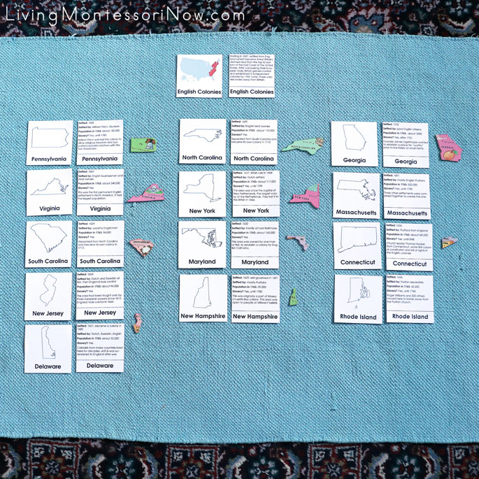 Matching 13 Original Colonies Nomenclature and Description Cards with Puzzle Pieces from United States Puzzle