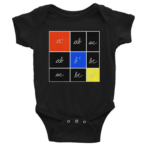 Montessori Baby Onesie with Trinoial Cube Theorem by Hoshiko Studio on Etsy