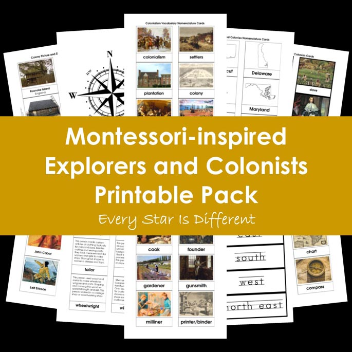 Montessori-Inspired Explorers and Colonists Printable Pack from Every Star Is Different