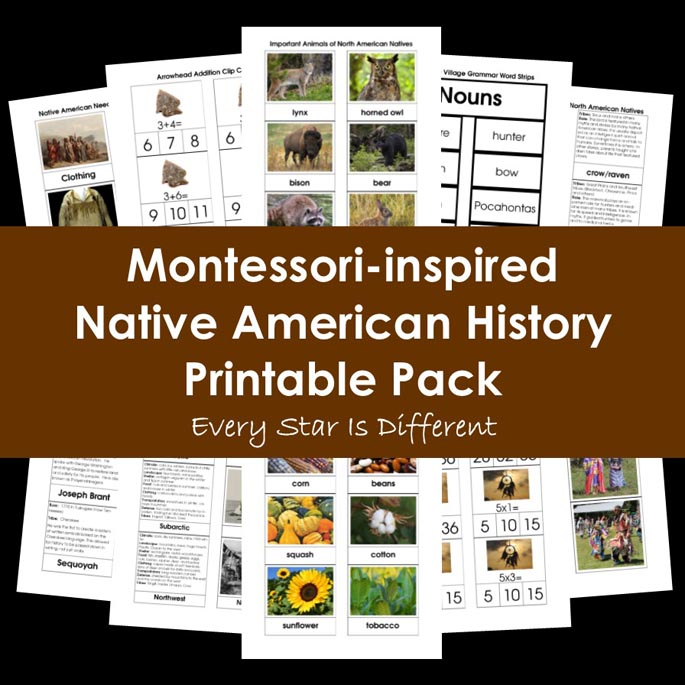 Montessori-Inspired Native American History Printable Pack from Every Star Is Different