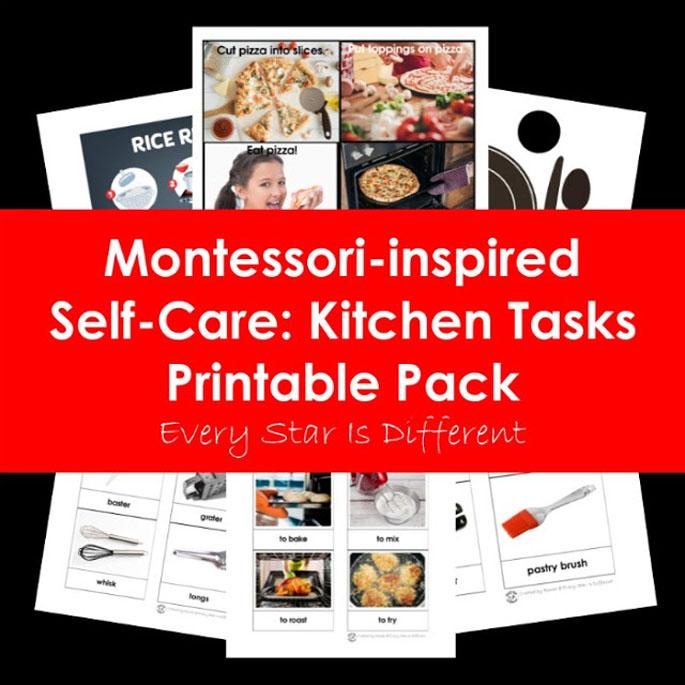 Montessori-Inspired Self-Care: Kitchen Tasks Printable Pack