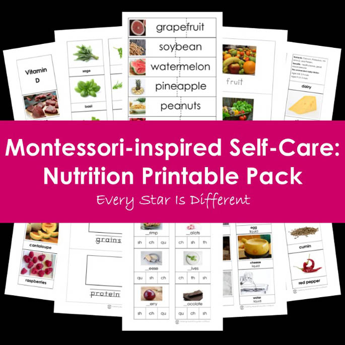 Montessori-Inspired Self-Care - Nutrition Printable Pack from Every Star Is Different