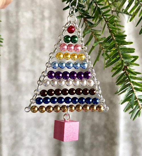 Montessori Ornament Bead Stair with Pink Tower Cube by My Bella Montessori on Etsy