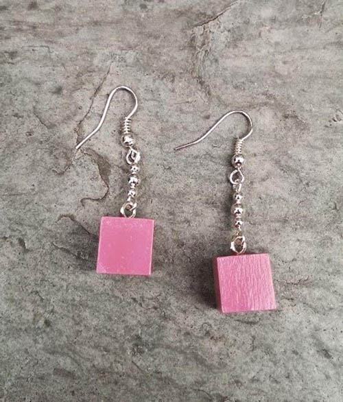 Montessori Pink Tower Cube Earrings by My Bella Montessori on Etsy