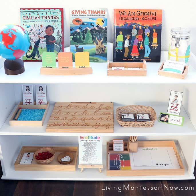 Montessori Shelves with Gratitude-Themed Activities
