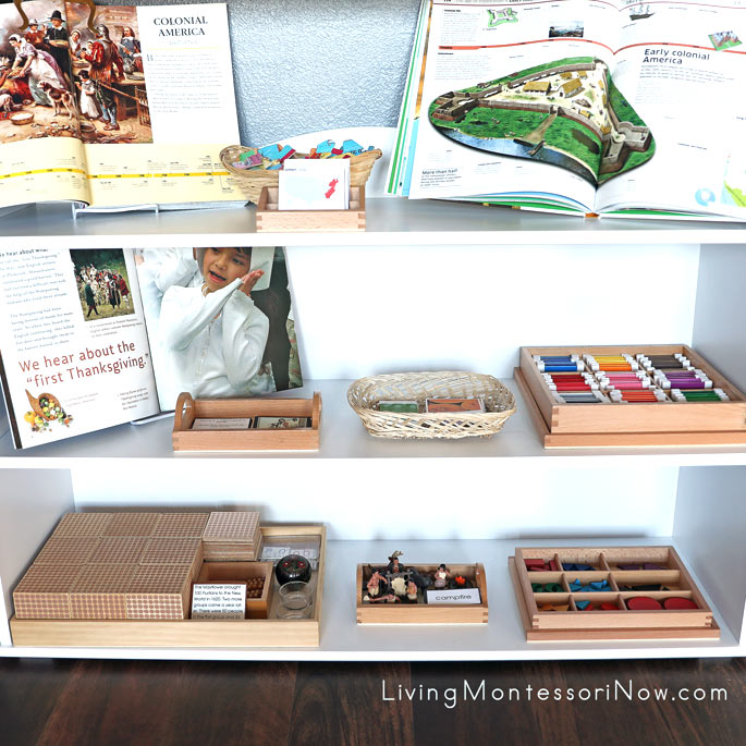 Montessori Shelves with Native American, Colonist, and Thanksgiving Materials
