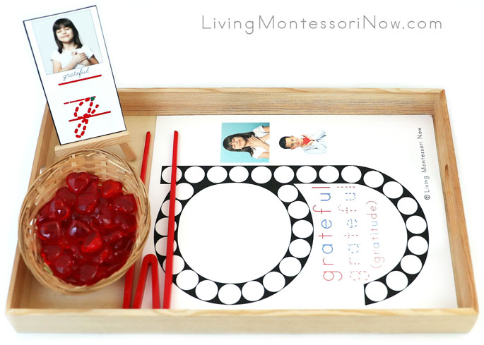 Tray with G for Grateful Do-a-Dot Printable and Heart Transfer