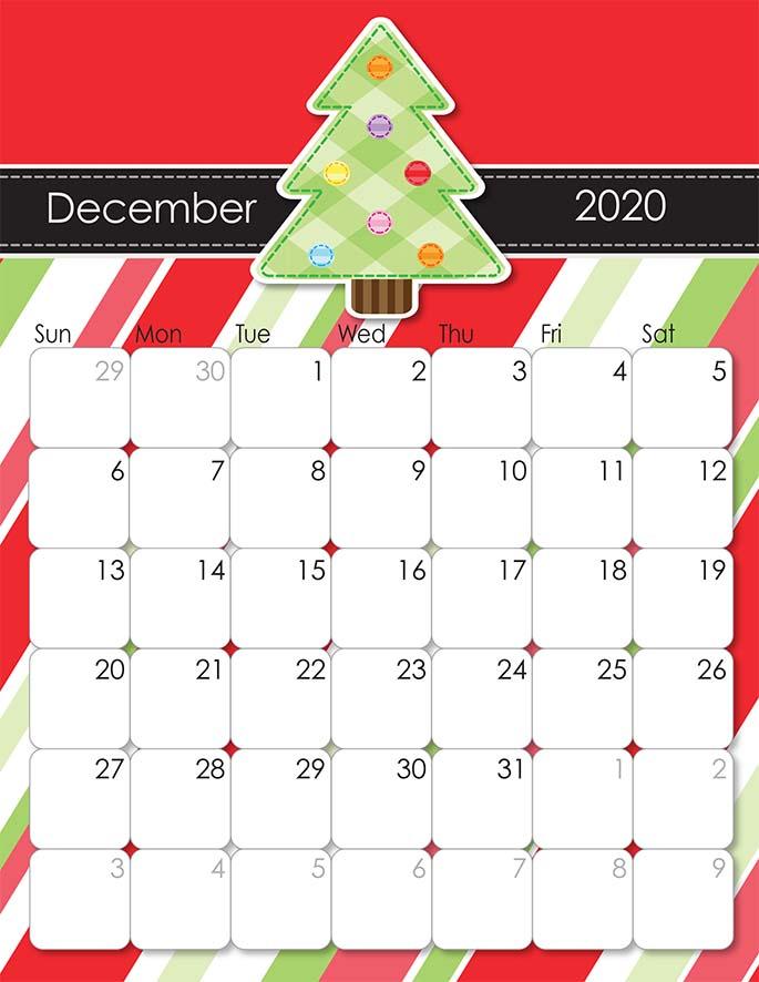 December 2020 Calendar from iMom