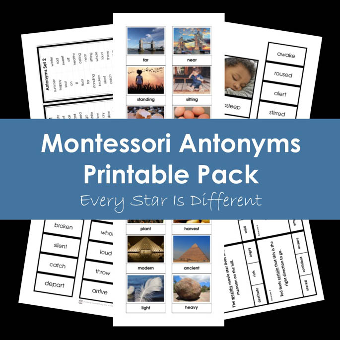 Montessori Antonyms Printable Pack from Every Star Is Different