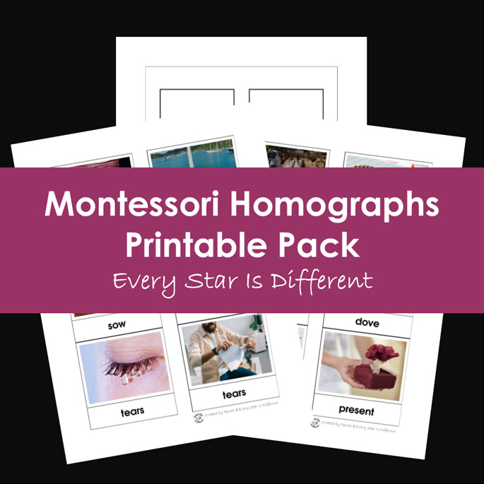 Montessori Homographs Printable Pack from Every Star Is Different