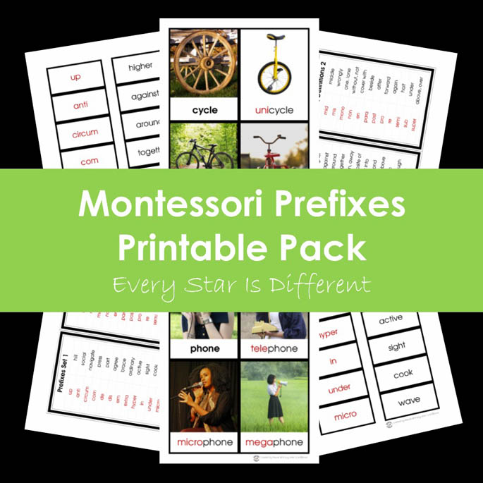 Montessori Prefixes Printable Pack from Every Star Is Different