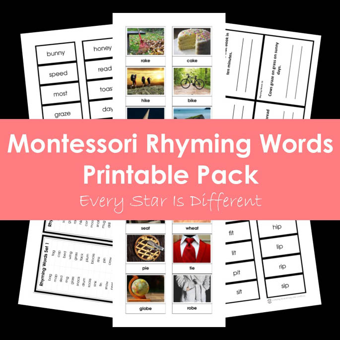 Montessori Rhyming Words Printable Pack from Every Star Is Different