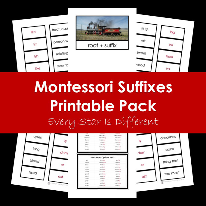 Montessori Suffixes Printable Pack from Every Star Is Different