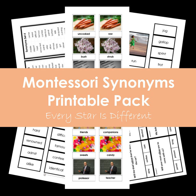 Montessori Synonyms Printable Pack from Every Star Is Different