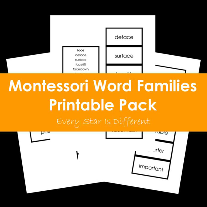 Montessori Word Families Printable Pack from Every Star Is Different