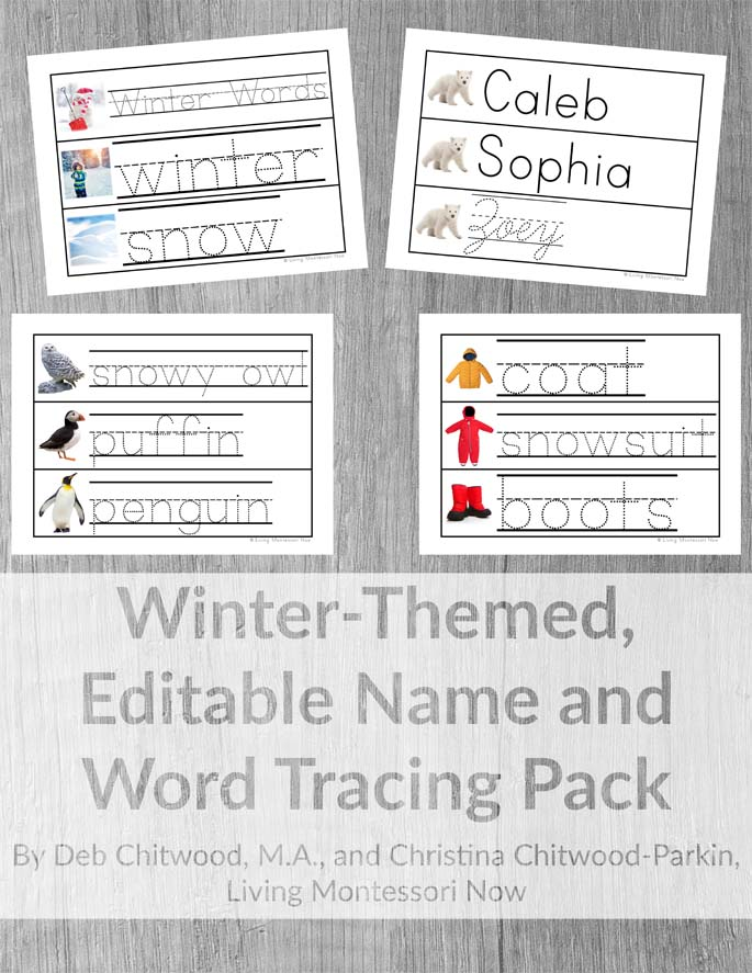 Winter-Themed, Editable Name and Word Tracing Pack {Manuscript and Cursive Compatible}