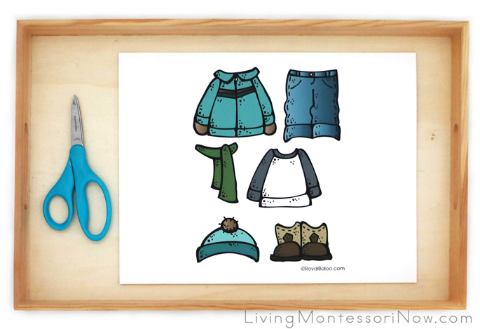 Cutting and Dressing Activity with Paper Dolls and Clothes for the Seasons